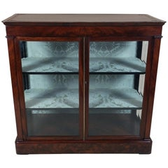 Mid-19th Century Biedermeier Flame Mahogany Two-Door Glass Cabinet