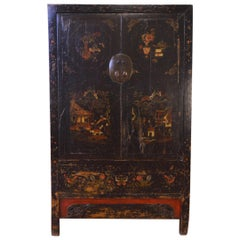 Mid-19th Century Black Lacquered Chinese Cabinet Hand-Painted