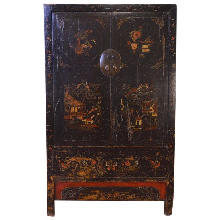 Mid-19th Century Black Lacquered Chinese Cabinet Hand-Painted For Sale