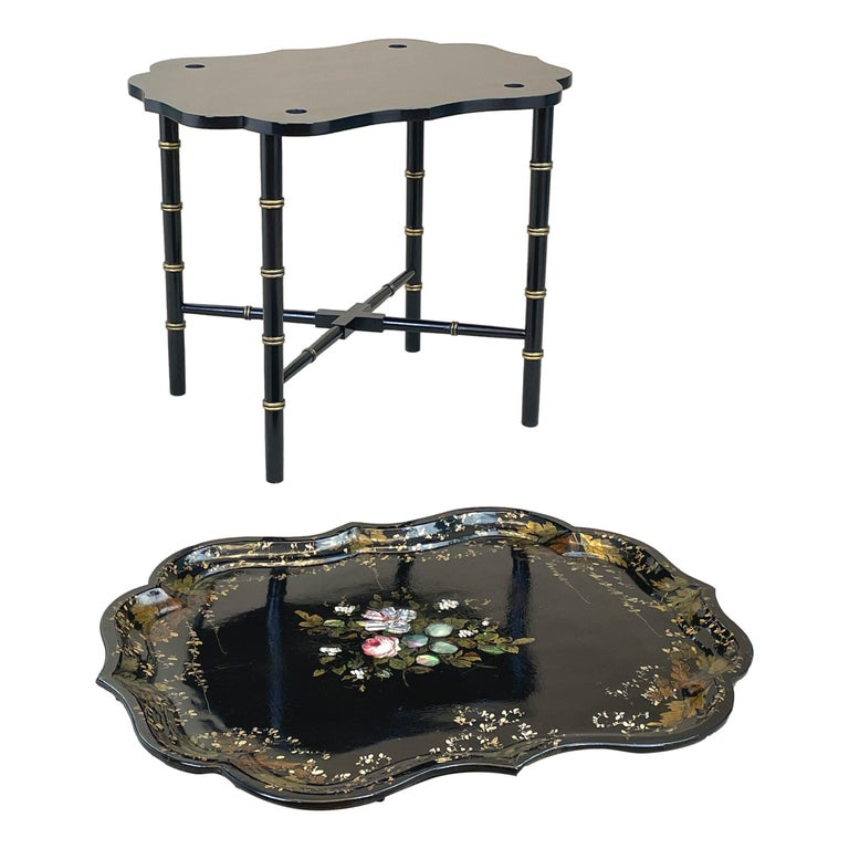Victorian Mid 19th Century Black Papier Mache Tray On Stand For Sale