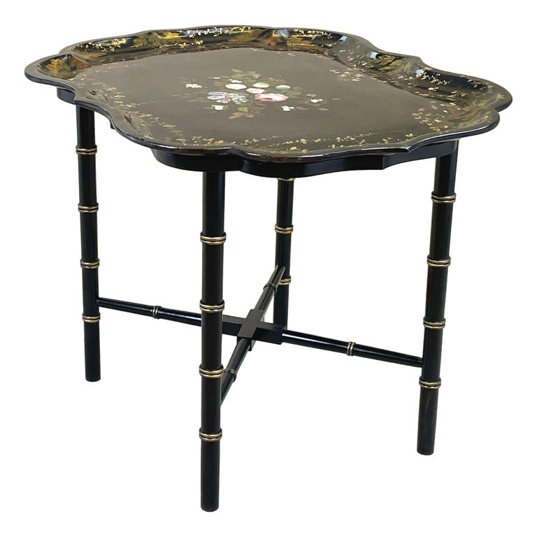 English Mid 19th Century Black Papier Mache Tray On Stand For Sale