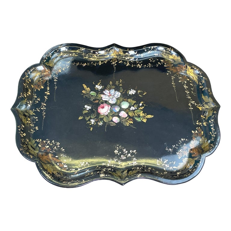 Mid 19th Century Black Papier Mache Tray On Stand In Good Condition For Sale In Bedfordshire, GB