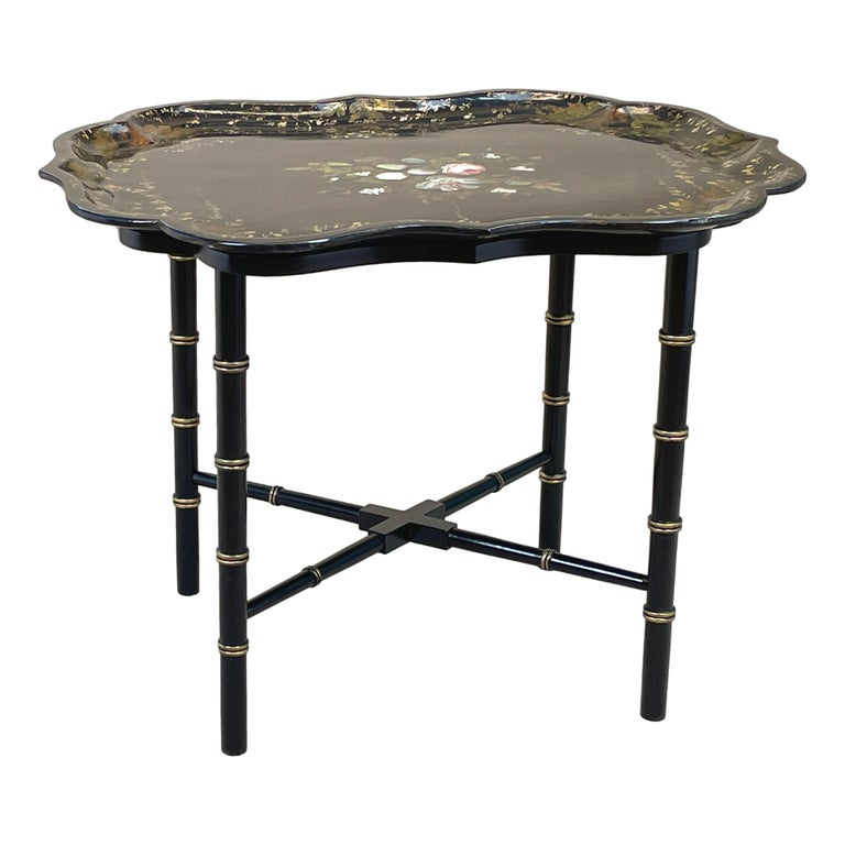Paper Mid 19th Century Black Papier Mache Tray On Stand For Sale