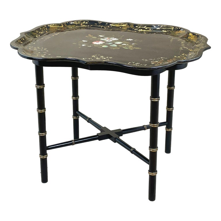Mid 19th Century Black Papier Mache Tray On Stand For Sale