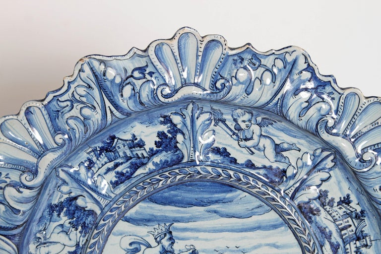 Neoclassical Mid-19th Century Blue and White Delft Italian Charger For Sale