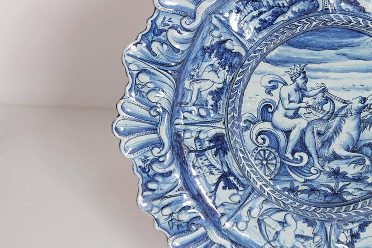 Glazed Mid-19th Century Blue and White Delft Italian Charger For Sale
