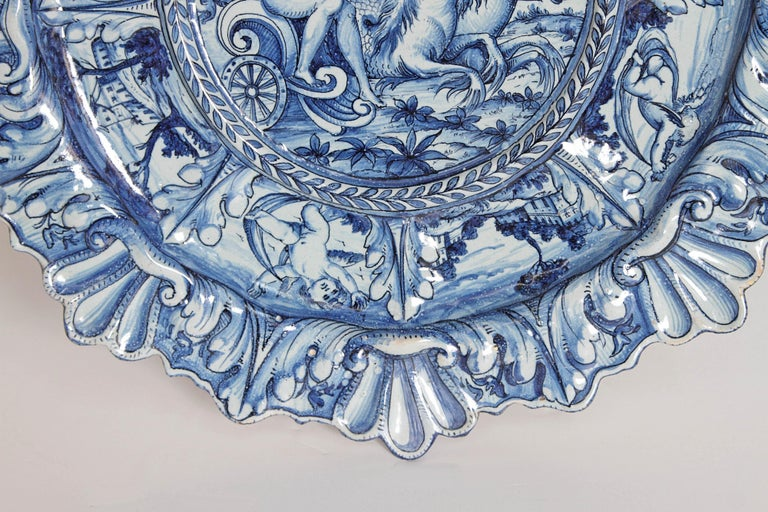Ceramic Mid-19th Century Blue and White Delft Italian Charger For Sale