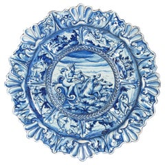 Mid-19th Century Blue and White Delft Italian Charger