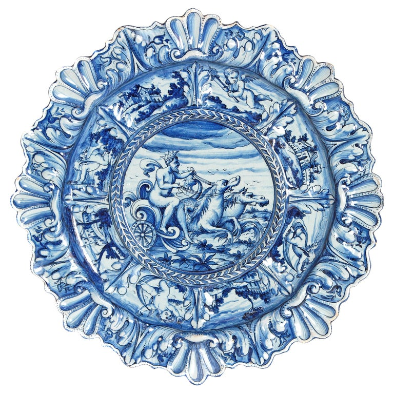 Mid-19th Century Blue and White Delft Italian Charger For Sale