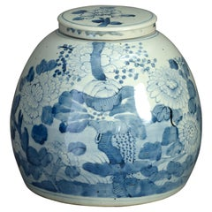 Mid-19th Century Blue and White Porcelain Ginger Jar and Cover