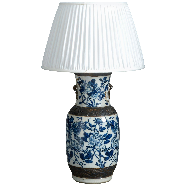 Mid-19th Century Blue and White Porcelain Vase Lamp