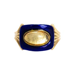 Mid-19th Century Blue Enamel and Crystal 9 Carat Gold Ring