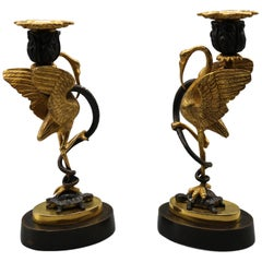 Mid-19th Century Bronze and Ormolu Candlesticks Held by Storks and Serpents