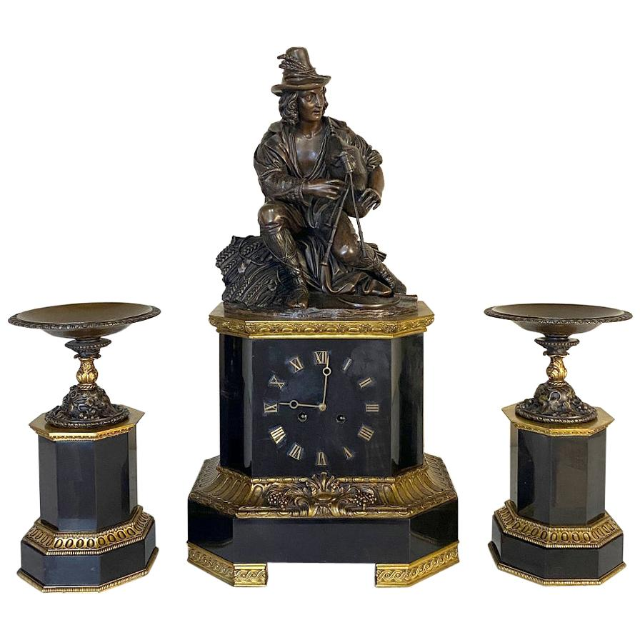 Mid-19th Century Bronze and Slate Mantel Clock Set by Feuchere