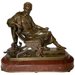 Mid-19th Century Bronze Figure of Tacitus on Marble Base