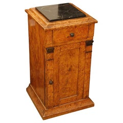 Mid-19th Century Burl Wood Stand with Black Marble Top from England