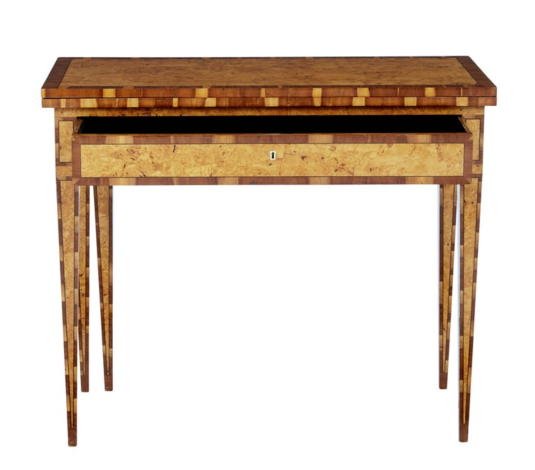 Rare burr birch and elm games table, circa 1860.