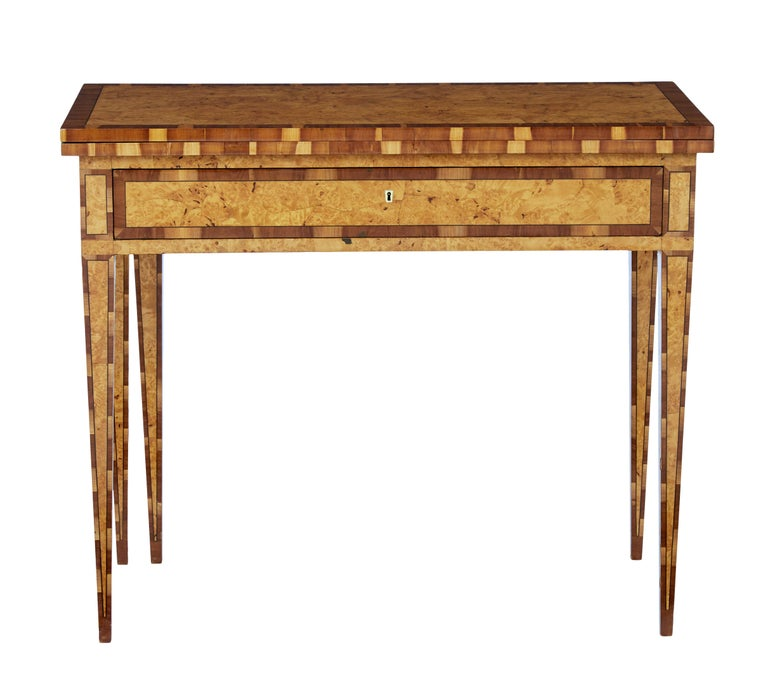 Gustavian Mid-19th Century Burr Birch and Elm Games Table For Sale