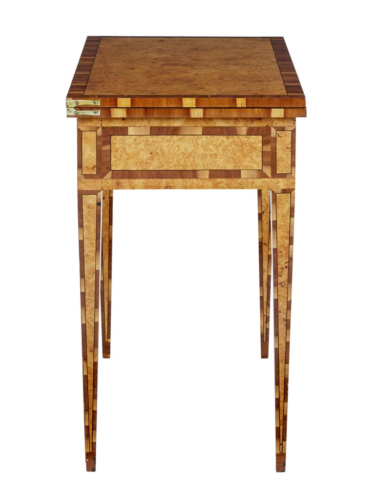 Swedish Mid-19th Century Burr Birch and Elm Games Table For Sale