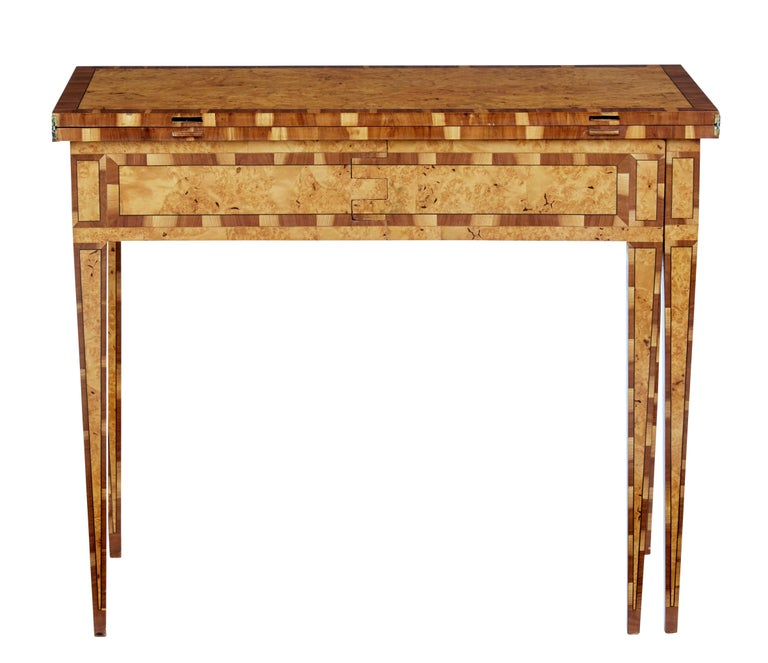 Veneer Mid-19th Century Burr Birch and Elm Games Table For Sale