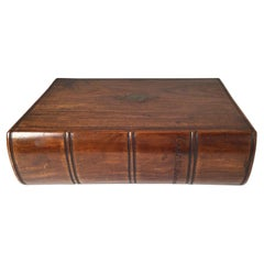 Mid 19th Century Captains Hand Carved Walnut Lap Desk Book Box With Key Lock