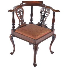 Mid-19th Century Carved Mahogany Corner Chair
