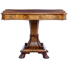 Mid-19th Century Carved Swedish Flame Mahogany Centre Table