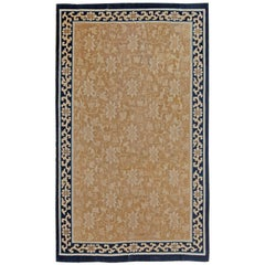 Mid-19th Century Chinese Beige and Dark Blue Handwoven Wool Rug