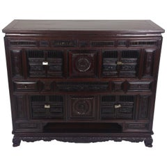 Mid-19th Century Chinese Carved Side Cabinet