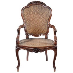 Mid-19th Century Chinese Export Padouk Armchair in the Louis XV Style