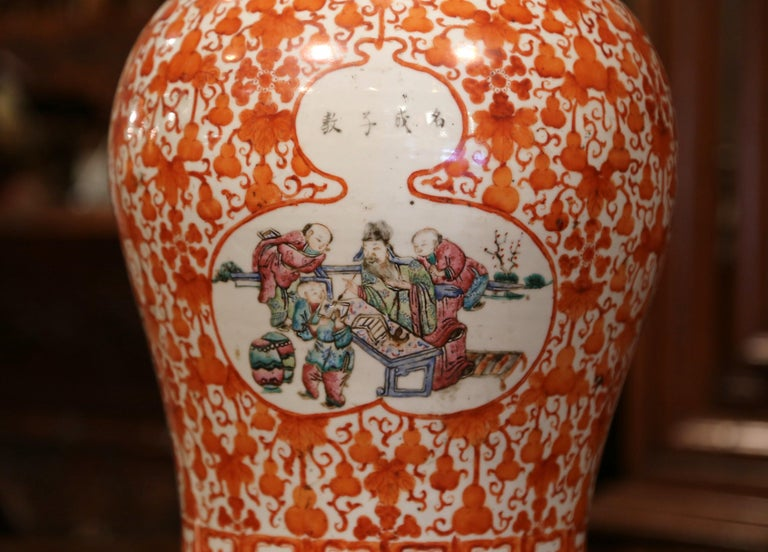 Decorate a console with this important antique porcelain ginger jar. Created in China circa 1840 and round in shape, the carved, colorful vase features floral decor, and is further embellished with a central medallion with traditional Chinese