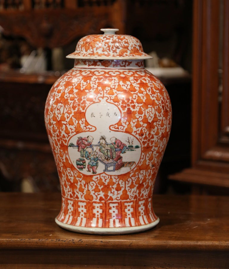 Mid-19th Century Chinese Hand Painted Porcelain Famille Rose Ginger Jar with Lid For Sale 1