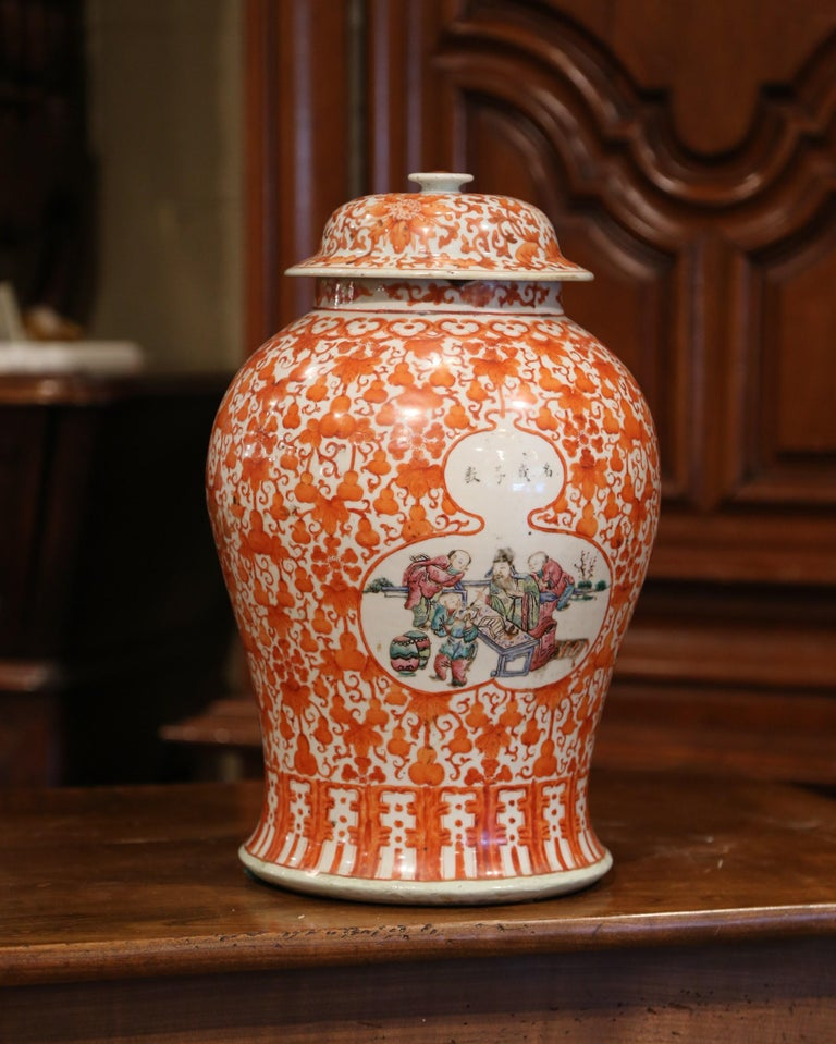 Mid-19th Century Chinese Hand Painted Porcelain Famille Rose Ginger Jar with Lid For Sale 4