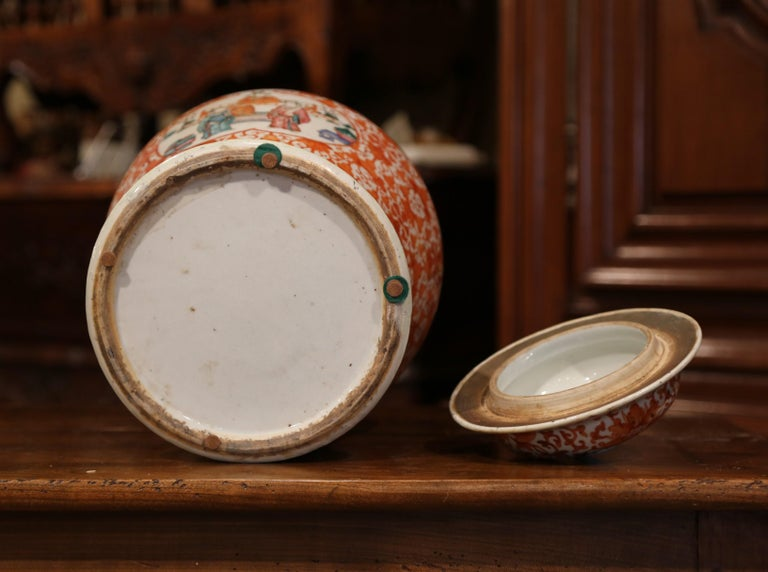Mid-19th Century Chinese Hand Painted Porcelain Famille Rose Ginger Jar with Lid For Sale 5