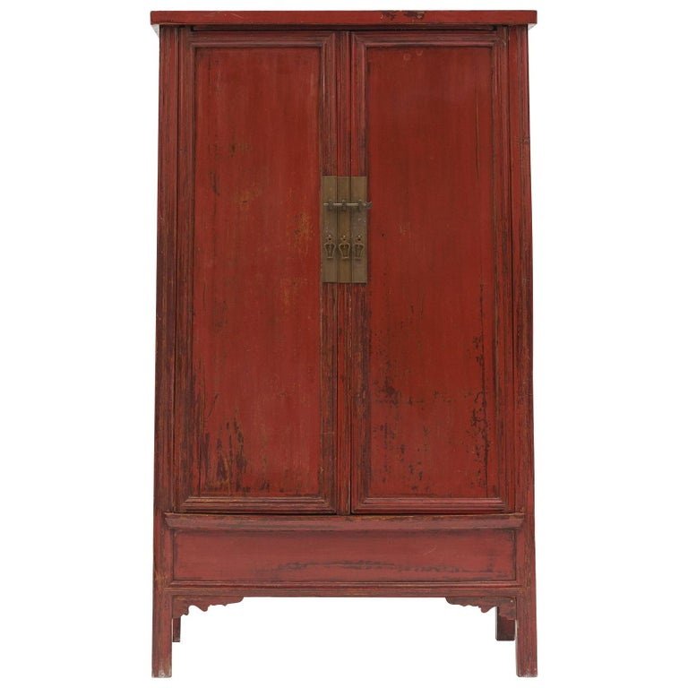 Mid-19th Century Chinese Red Lacquered Wedding Cabinet For Sale