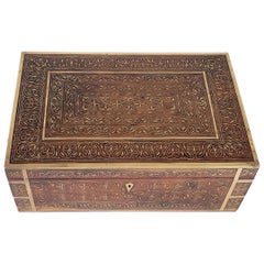Mid-19th Century Colonial Brass Inlaid Hardwood Fitted Box