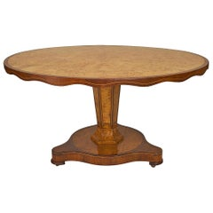 Mid-19th Century Continental Burl Wood Circular Centre Table with Scalloped Edge