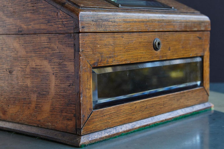 Mid-19th Century Country House Oak Letter Box with Brass Slot and Beveled Glass For Sale 6