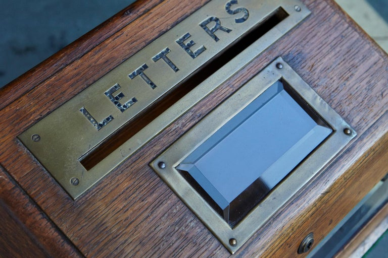 Mid-19th Century Country House Oak Letter Box with Brass Slot and Beveled Glass For Sale 7