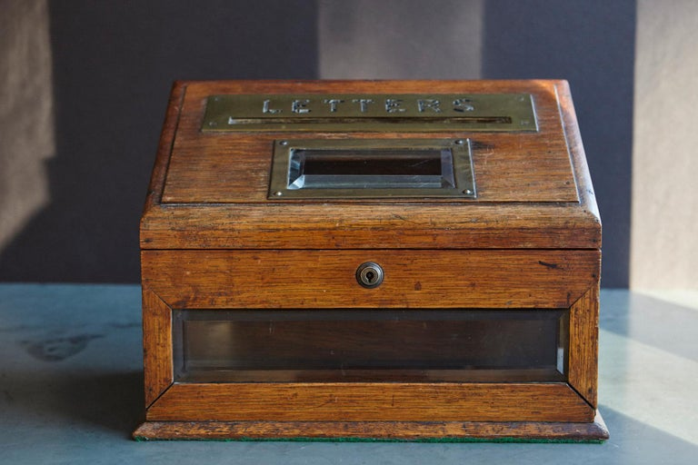 English Mid-19th Century Country House Oak Letter Box with Brass Slot and Beveled Glass For Sale