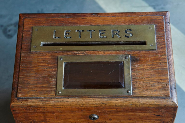 Mid-19th Century Country House Oak Letter Box with Brass Slot and Beveled Glass In Good Condition For Sale In Weston, CT