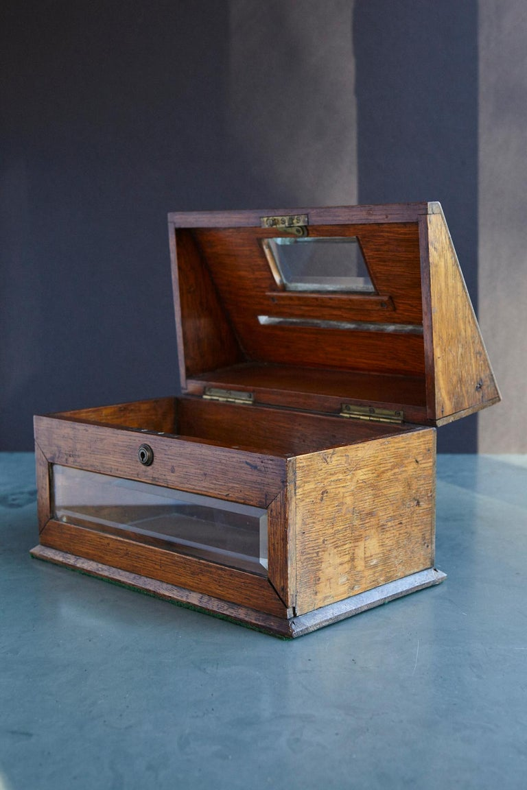 Mid-19th Century Country House Oak Letter Box with Brass Slot and Beveled Glass For Sale 1