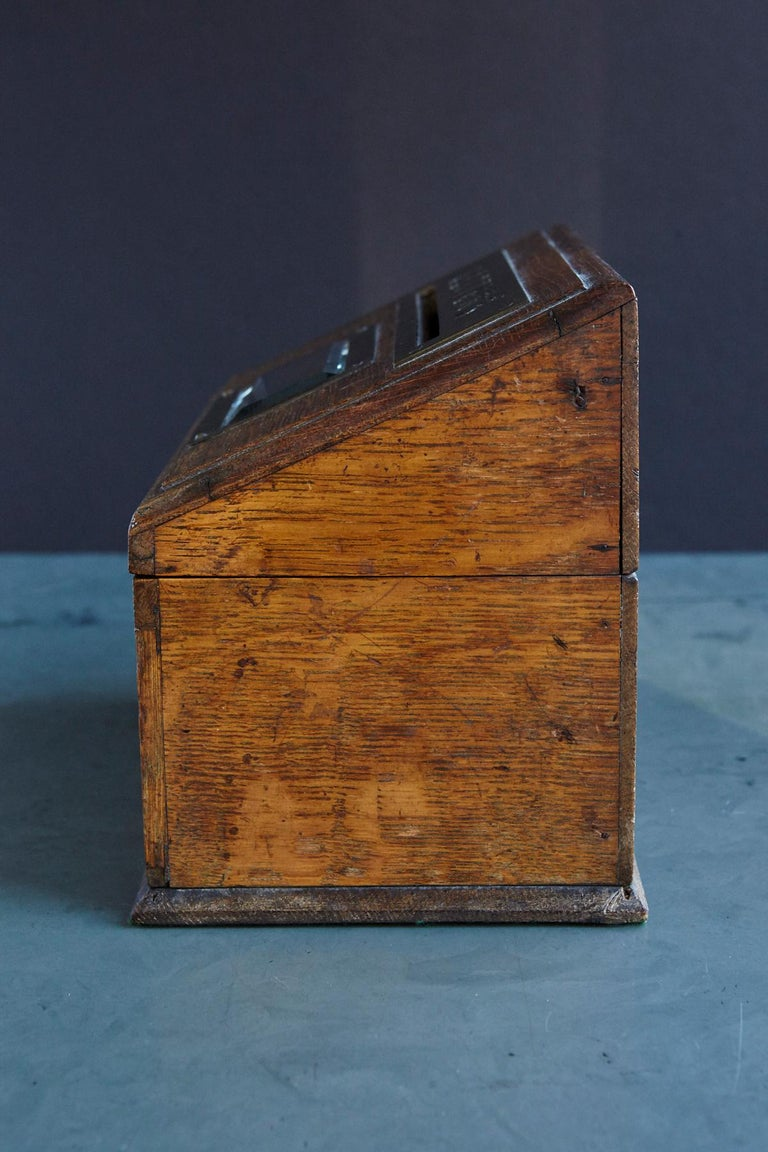 Mid-19th Century Country House Oak Letter Box with Brass Slot and Beveled Glass For Sale 3