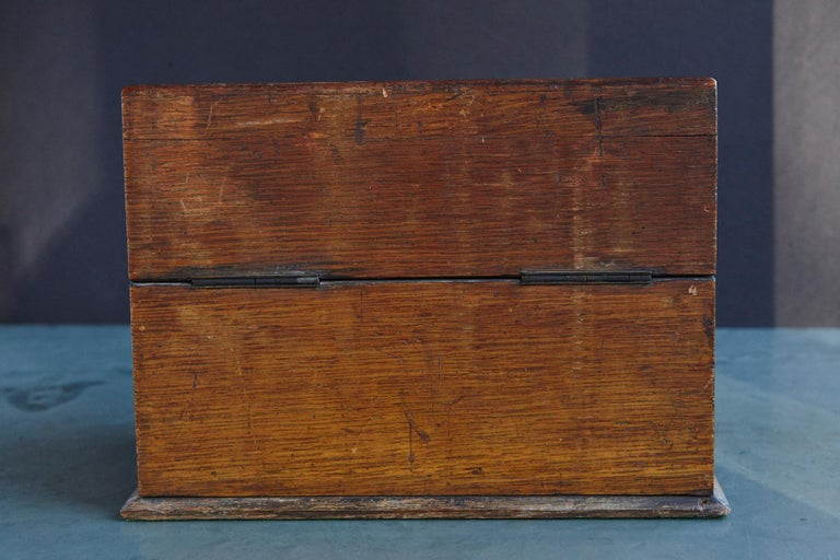 Mid-19th Century Country House Oak Letter Box with Brass Slot and Beveled Glass For Sale 4