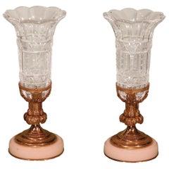 Mid-19th Century Cut-Glass Crystal Vases on Ormolu Holders
