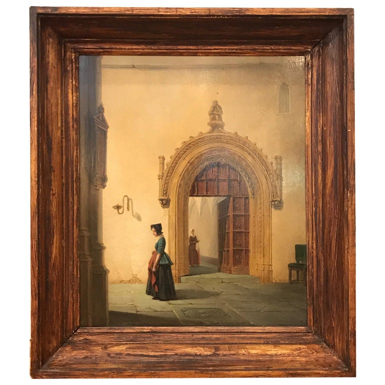 Mid-19th Century Dutch Church Interior Singed A. W. Nieuwenhuysen For Sale