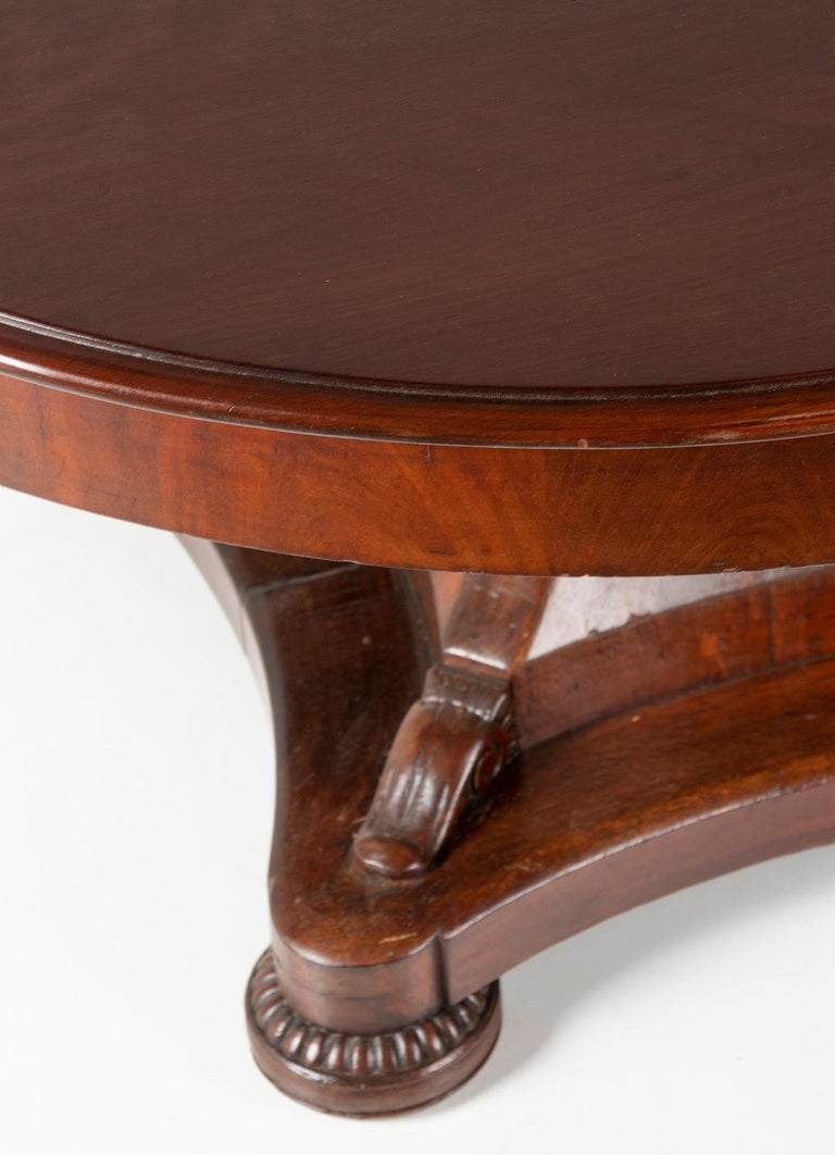 Mid- 19th Century Dutch Empire Style Mahogany Dining Table For Sale 1