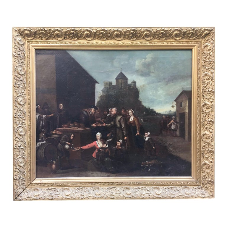 An elegant Dutch oil on canvas painting by unknown artist. The beautiful painting is depicting a scene of charity and presents a carved and gilt wooden frame. Holland, mid-19th century.