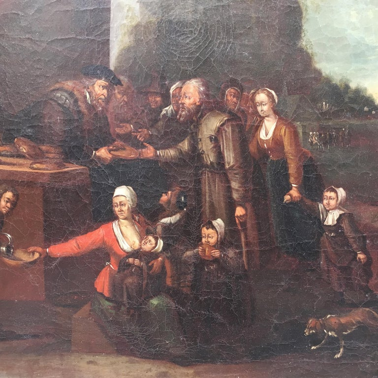 Gilt Mid-19th Century Dutch Oil on Canvas Painting Depicting a Charity Scene For Sale