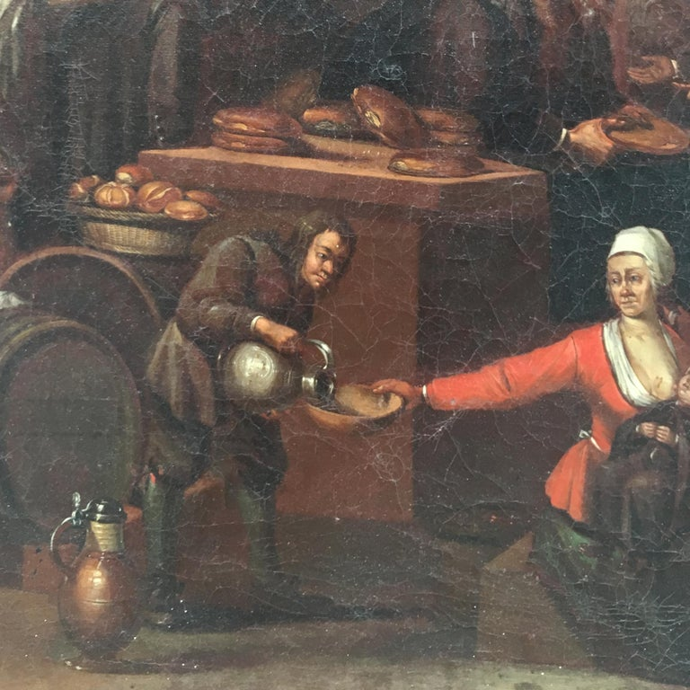 Mid-19th Century Dutch Oil on Canvas Painting Depicting a Charity Scene In Good Condition For Sale In Firenze, Tuscany